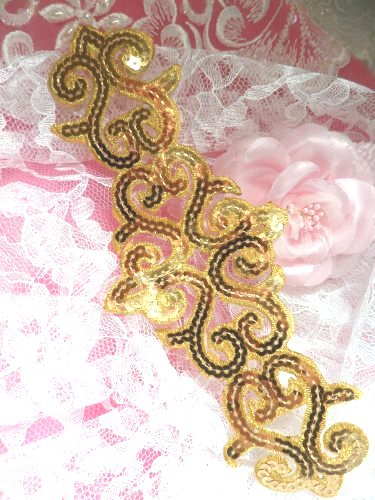 GB104 Gold Sequin Applique Iron On Patch 8.5\