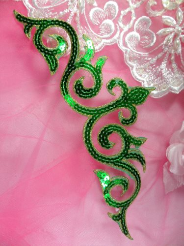 GB105 Green Gold Sequin Applique Iron On Patch 9.25\