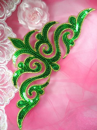 GB106 Green Gold Sequin Applique Iron On Patch 11.5\