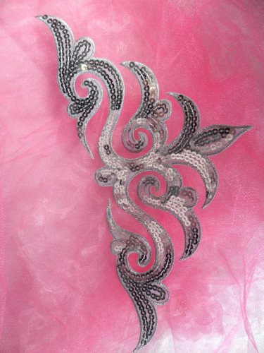 REMNANT Silver Sequin Applique Iron On Patch 11.5 (RMGB106)