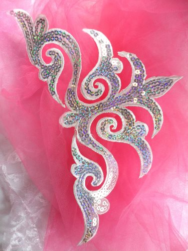 GB106 Silver White Holographic Sequin Applique Iron On Patch 11.5\