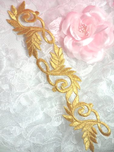 GB108 Gold Metallic Embroidered Applique Iron On Patch 8