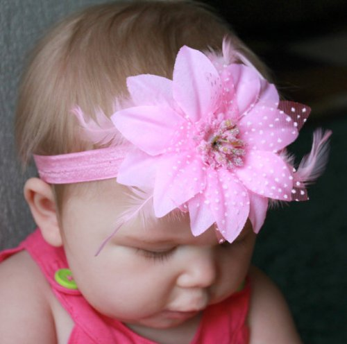 GB11 Feather Flower Headband 7 Colors Available