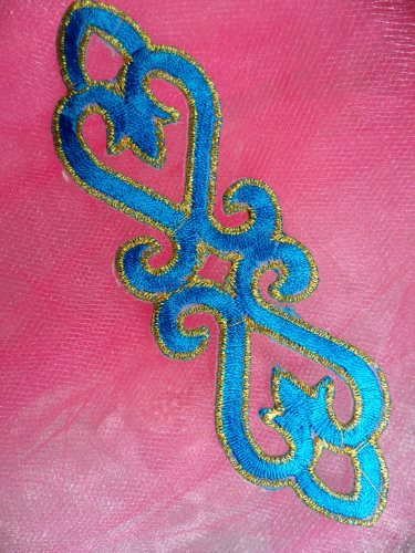 GB111 Turquoise Gold Embroidered Applique Iron On Patch