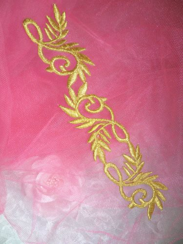 GB112 Gold Metallic Embroidered Applique Iron On Patch 7.5\