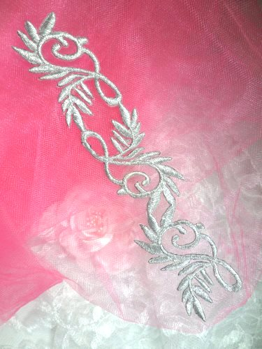 GB112 Silver Metallic Embroidered Applique Iron On Patch 7.5\
