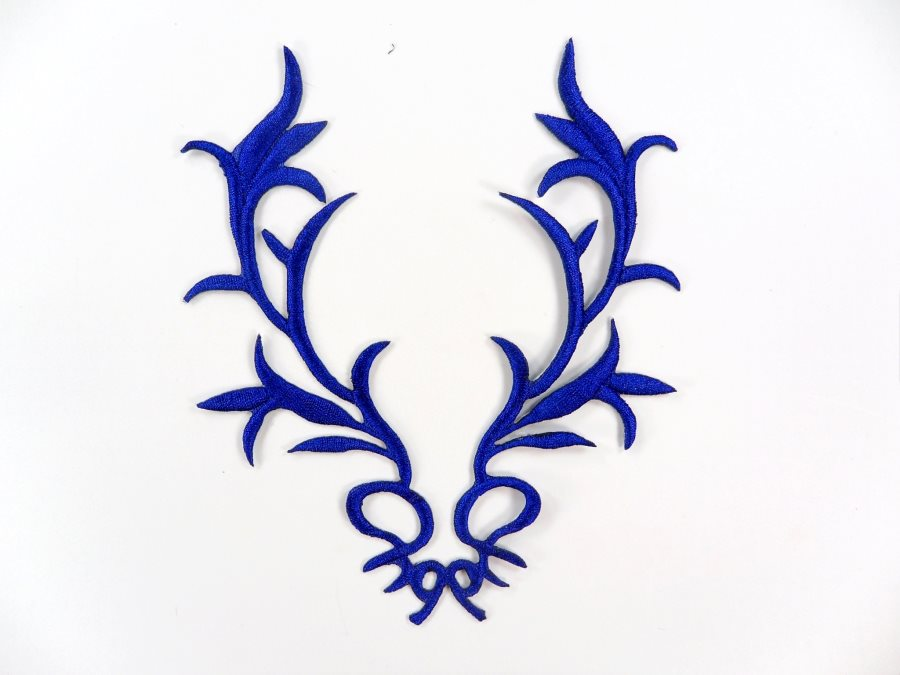 GB113 Embroidered Applique Blue Metallic Iron On Patch 5.5