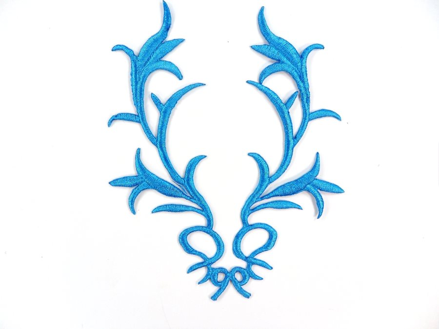 GB113 Embroidered Applique Turquoise Metallic Iron On Patch 5.5
