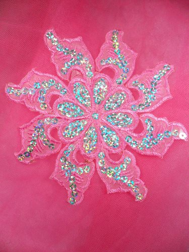 GB119 Pink Embroidered Flower Silver AB Sequin Applique 5.25\