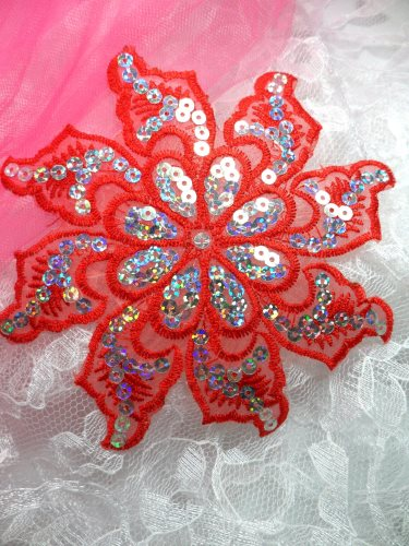 GB119 Red Embroidered Flower Silver AB Sequin Applique 5.25\