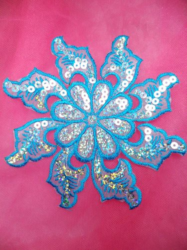 GB119 Turquoise Embroidered Flower Silver AB Sequin Applique 5.25\