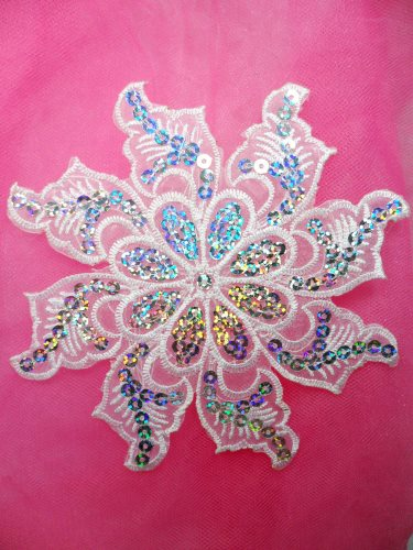 GB119 White Embroidered Flower Silver AB Sequin Applique 5.25