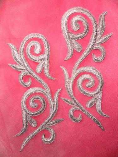 Embroidered Applique Mirror Pair Metallic Silver Metallic Iron On Patch 5.25 GB120X