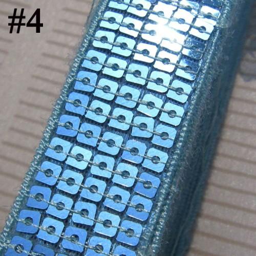 GB128 Aqua Sequin Sewing Craft Trim 5 Row 1\