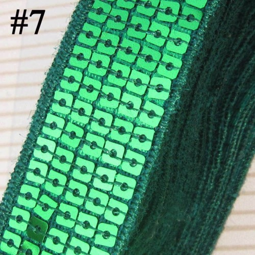 GB128 Green Sequin Sewing Craft Trim 5 Row 1\