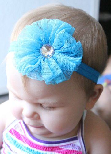 GB13 Baby Elactic Headband with Mesh Flower Crystal Center 11 Colors Available