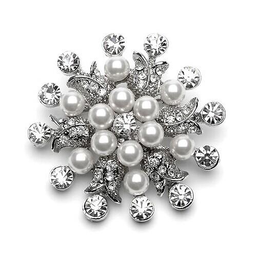GB130  Bridal Rhinestone Brooch Pin Vintage Silver Crystal Glass 1.5\