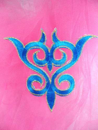 GB131 Embroidered Applique Turquoise Gold Metallic Iron On Patch 4\