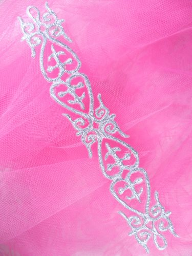 GB134 Silver Metallic Embroidered Applique Iron On Patch 7\