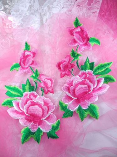 GB157 Large Pink Rose Mirror Pair Embroidered Appliques 9.5\