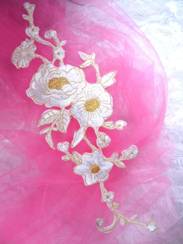 GB158 White Gold Metallic Rose Embroidered Applique Iron On Patch 10\