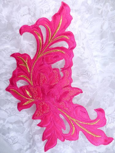 GB159 Floral Rose Fuchsia Gold Metallic Embroidered Flower Applique Iron On Patch 9\