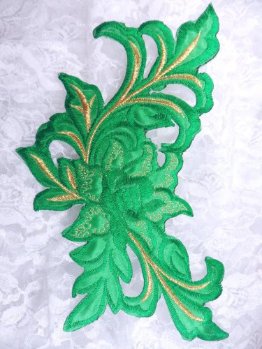 GB159 Floral Rose Green Gold Metallic Embroidered Flower Applique Iron On Patch 9\