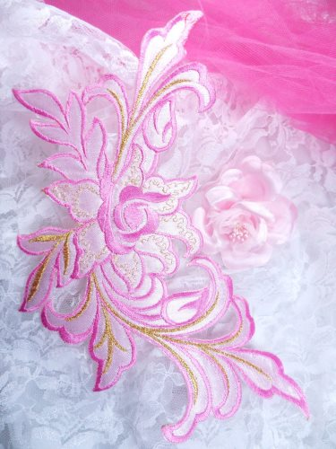 GB159 Floral Rose Pink Gold Metallic Embroidered Flower Applique Iron On Patch 9\