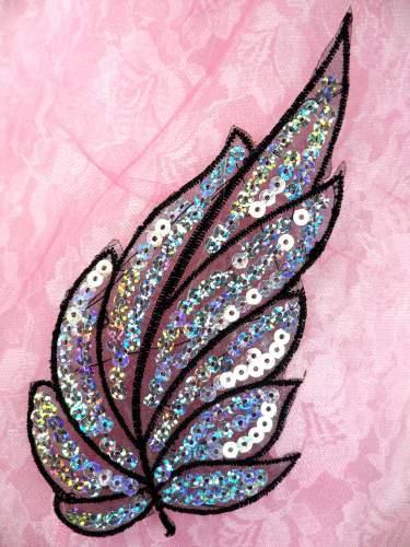 REDUCED Black Embroidered Silver Seqiun Leaf Applique 6.25 (RMGB163)