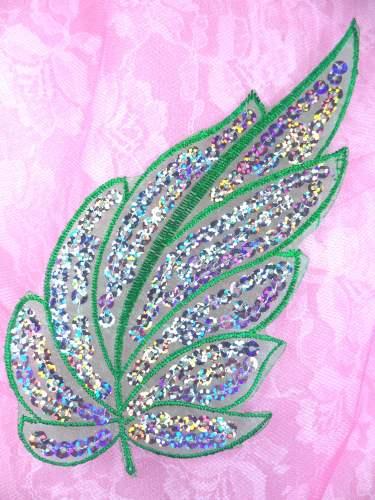 GB163 Green Embroidered Silver Seqiun Leaf Applique 6.25\