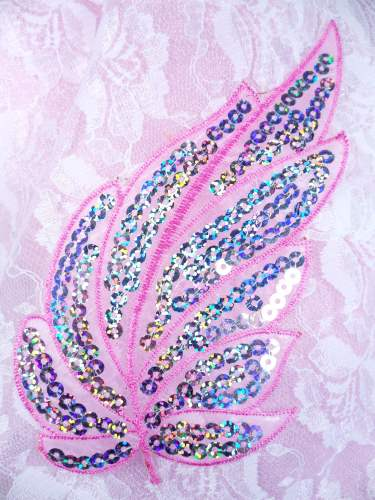 GB163 Pink Embroidered Silver Holographic Seqiun Leaf Applique 6.25\