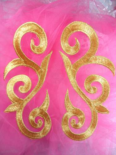 OSGB164 (RIGHT SIDE ONLY) Gold Metallic Embroidered Scroll Applique Iron On Patch 7\