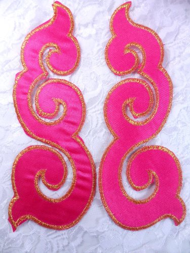 GB165 Embroidered Appliques Mirror Pair Hot Pink Gold Metallic Iron On Patch 6\