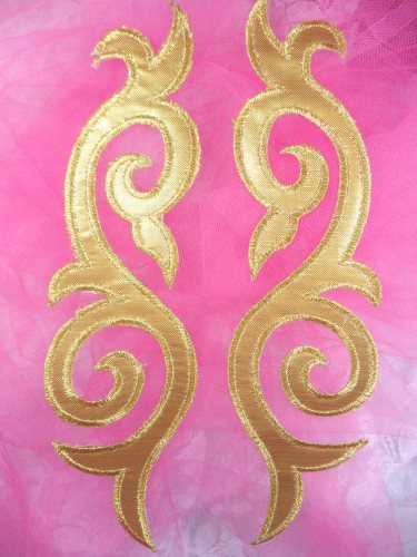 ONE SIDE Embroidered Appliques Mirror Pair Gold Metallic Iron On Patch 9.25 (OSGB166)