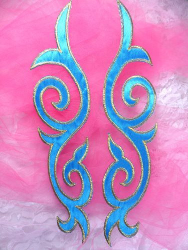 GB166 Embroidered Appliques Mirror Pair Turquoise Gold Metallic Iron On Patch 9.25\