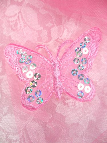 REDUCED RMGB167 Pink Embroidered Butterfly Silver Holographic Seqiun Applique 3
