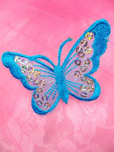 GB167 Turquoise Embroidered Butterfly Silver Holographic Seqiun Applique 3\