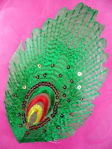 GB168 Feather Embroidery Applique Green Gold Sequined Patch 4\