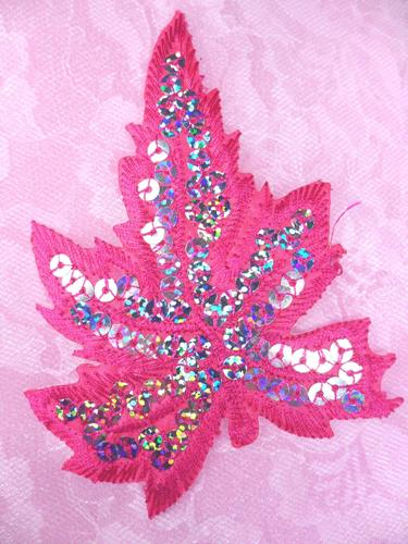 """GB174 Fuchsia Embroidered Silver Holographic Seqiun Leaf Applique 4"""""""