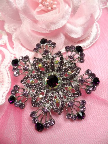GB202 Plum Lavender Bridal Rhinestone Brooch Pin Vintage Silver Crystal Glass 2.5\