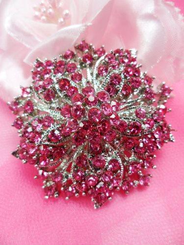 GB244 Bridal Rhinestone Brooch Pin Silver Metal Pink Glass 2\