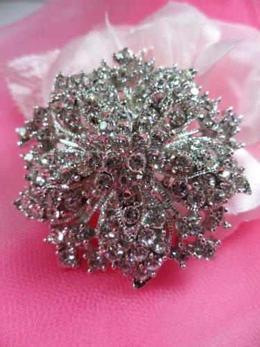 GB244 Bridal Rhinestone Brooch Pin Vintage Silver Crystal Glass 2\