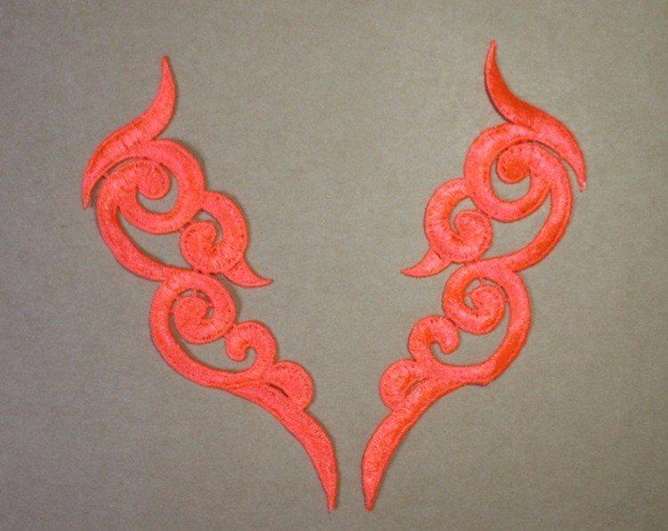 Embroidered Appliques Neon Orange Scroll Design Mirror Pair Motifs Patch 6.75 (GB249X)