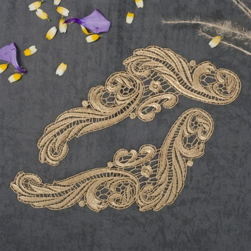 GB250 Embroidered Appliques Gold Metallic Scroll Mirror Pair 9.5