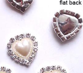GB26 Bridal Invitation Rhinestone Heart Applique Embellishment Silver Pearl Crystal