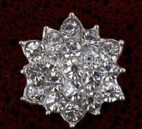 GB264 Floral Crystal Clear Glass Rhinestone Embellishment Metal Back