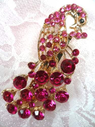 GB270 Peacock Hair Bow Fuchsia Gold Accessory French Clip