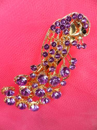 GB270 Peacock Hair Bow Purple Gold Accessory French Clip