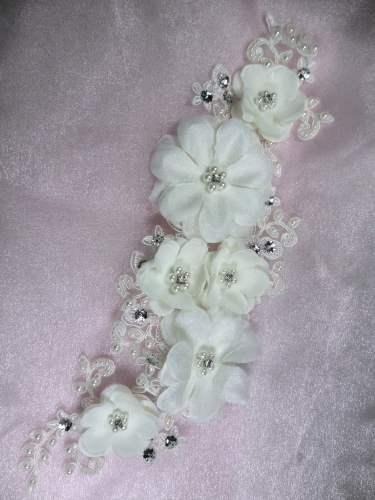 GB273 Pearl Lace Flower Bridal Head Band Headpiece