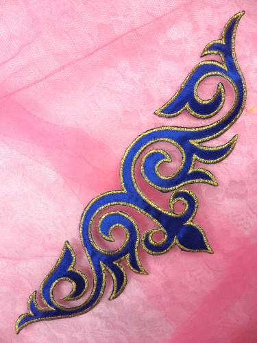 RMGB276 (REDUCED) Blue Gold Embroidered Applique Iro On Patch 9.5